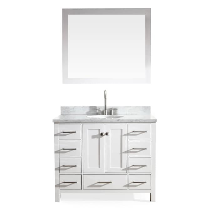 No Mirror ARIEL 43 Inch Midnight Blue Bathroom Vanity Cabinet with Carrara White Marble Counter-top 2 Soft Closing Doors and 5 Full Extension Dovetail Drawers Right Offset Oval Sink