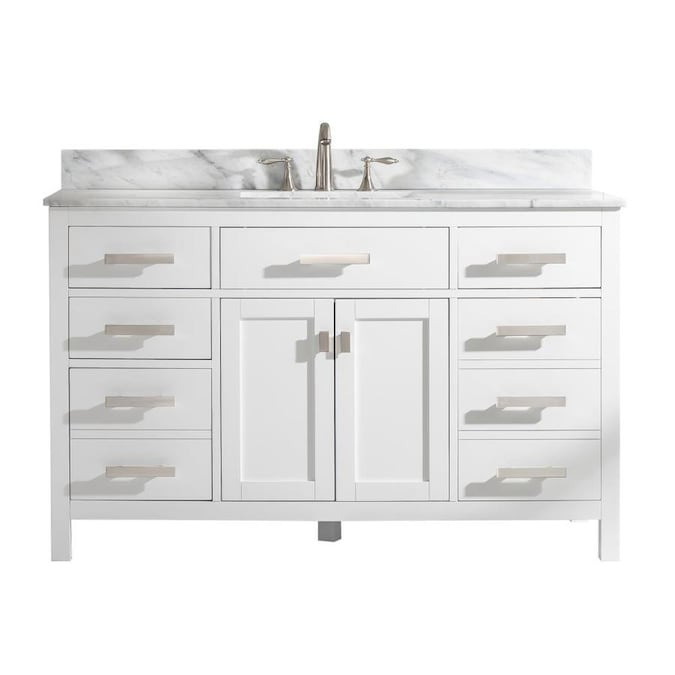 Design Element Valentino 54 In White Undermount Single Sink Bathroom Vanity With White Natural Marble Top In The Bathroom Vanities With Tops Department At Lowes Com