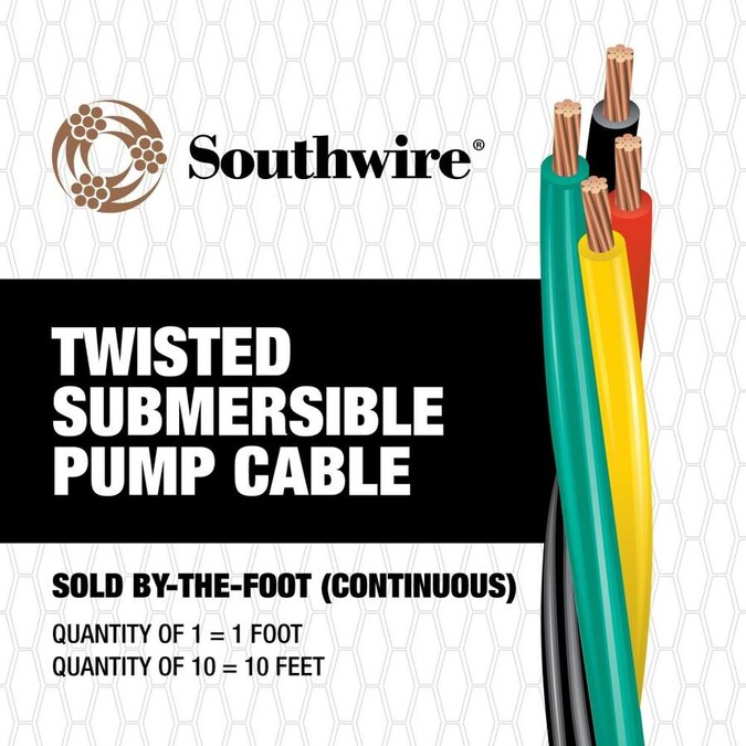 150/' 6//3 Heavy Duty Flat Jacketed Submersible Cable with Ground Well Pump Wire