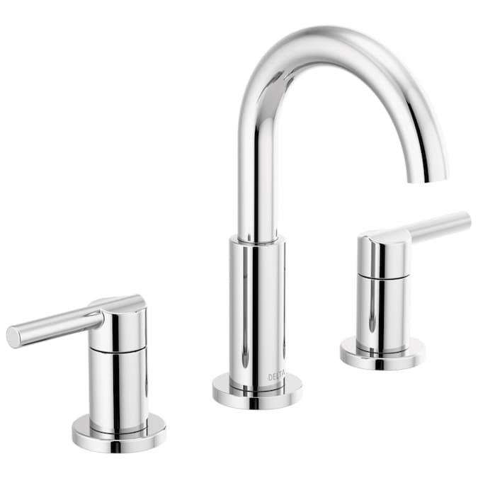 NEW Delta Trinsic 8 in Widespread 2-Handle Bathroom Faucet W//Metal Drain #DL120