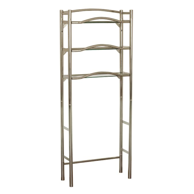 Allen Roth 25 In W X 63 5 H 9 D Brushed Nickel Metal And Glass Etagere The Etageres Department At Lowes Com