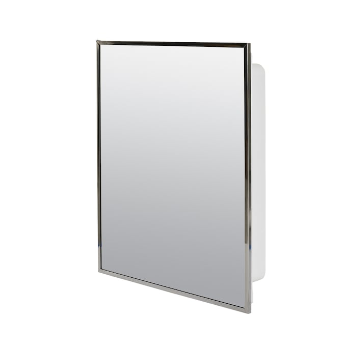 Project Source 16 13 In X 20 13 In Surface Recessed Stainless Steel Mirrored Rectangle Medicine Cabinet In The Medicine Cabinets Department At Lowes Com