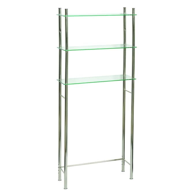 Zenna Home Oslo 25 5 In W X 59 H 9 D Brushed Nickel Over The Toilet Etagere Etageres Department At Lowes Com