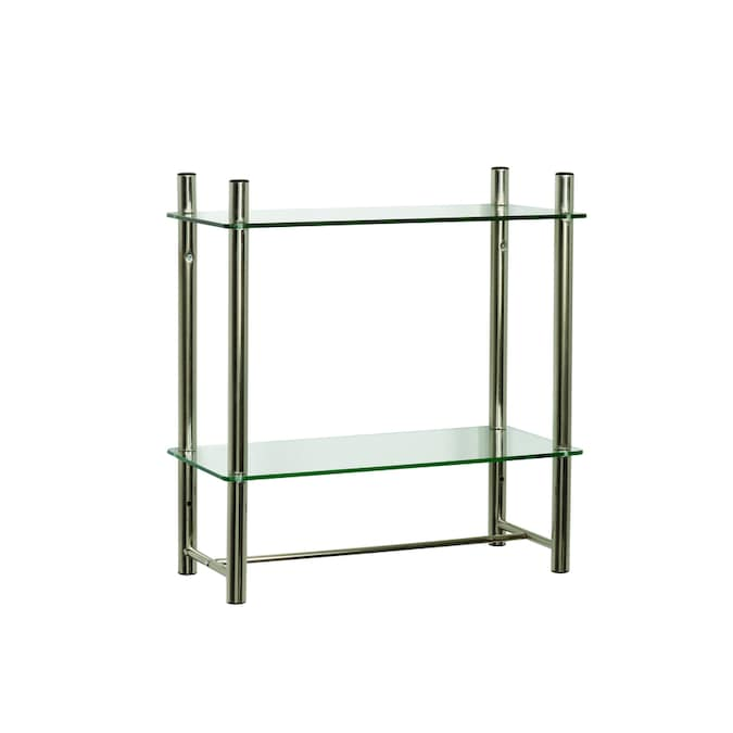 Zenna Home Oslo Brushed Nickel 2 Tier Metal Wall Mount Bathroom Shelf In The Shelves Department At Lowes Com