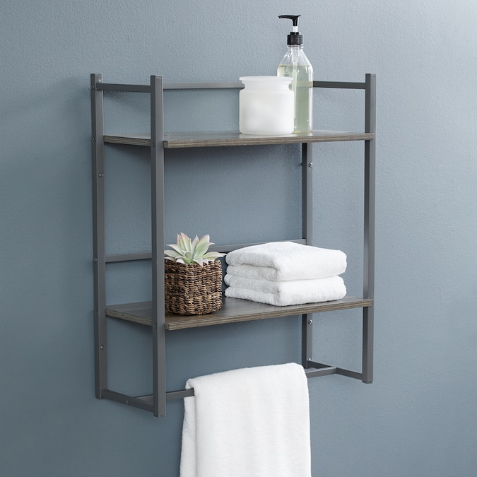 Style Selections Driftwood Driftwood 2 Tier Metal Wall Mount Bathroom Shelf In The Bathroom Shelves Department At Lowes Com