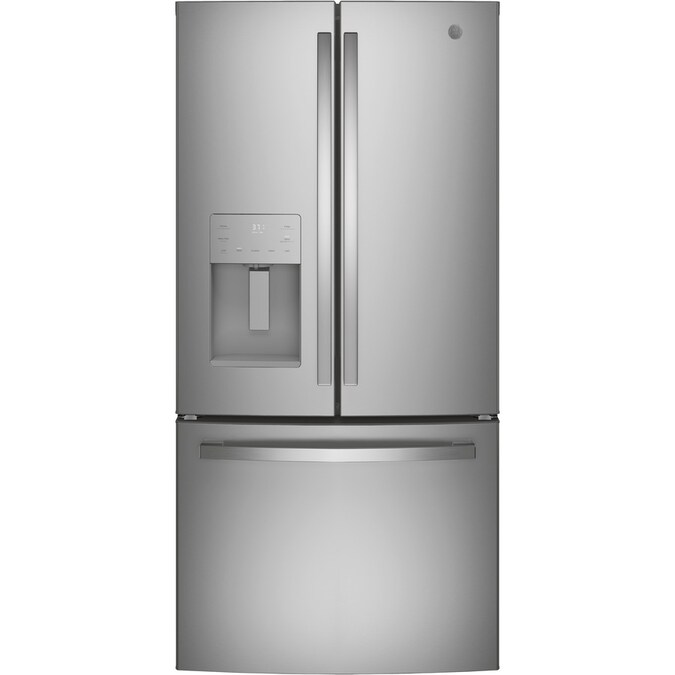 Ge 17 5 Cu Ft Counter Depth French Door Refrigerator With Ice Maker Stainless Steel Energy Star In The French Door Refrigerators Department At Lowes Com