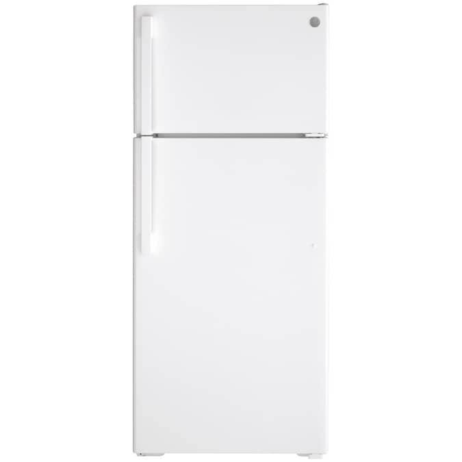 Ge 17 5 Cu Ft Top Freezer Refrigerator With Ice Maker White Energy Star In The Top Freezer Refrigerators Department At Lowes Com