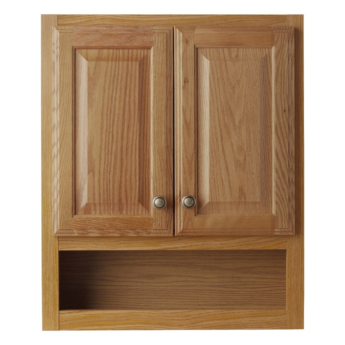 Style Selections 23 25 In W X 28 In H X 7 In D Oak Bathroom Wall Cabinet In The Bathroom Wall Cabinets Department At Lowes Com