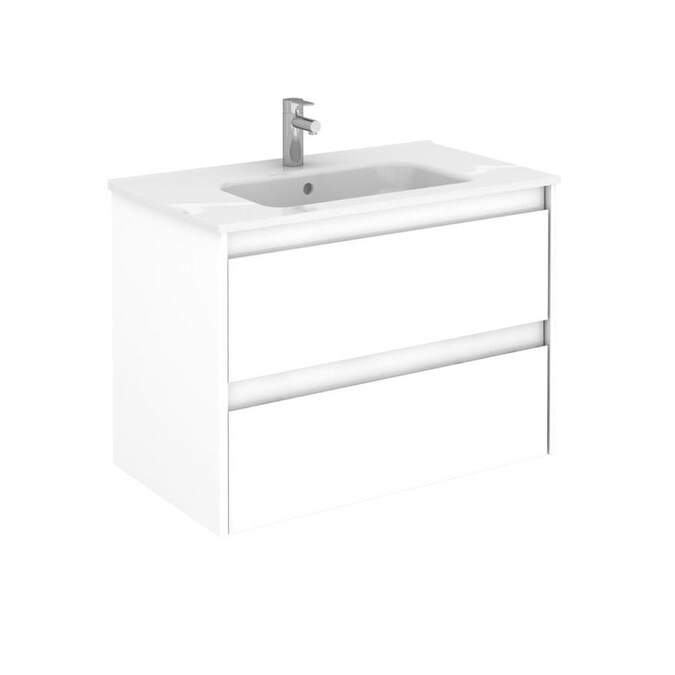 Ws Bath Collections Ambra 32 In Gloss White Single Sink Bathroom Vanity With Ceramic White Ceramic Top In The Bathroom Vanities With Tops Department At Lowes Com