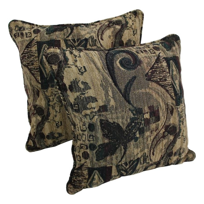 Blazing Needles Double-Corded Patterned Jacquard Chenille Square Floor Pillow with Insert 25 Antiquity
