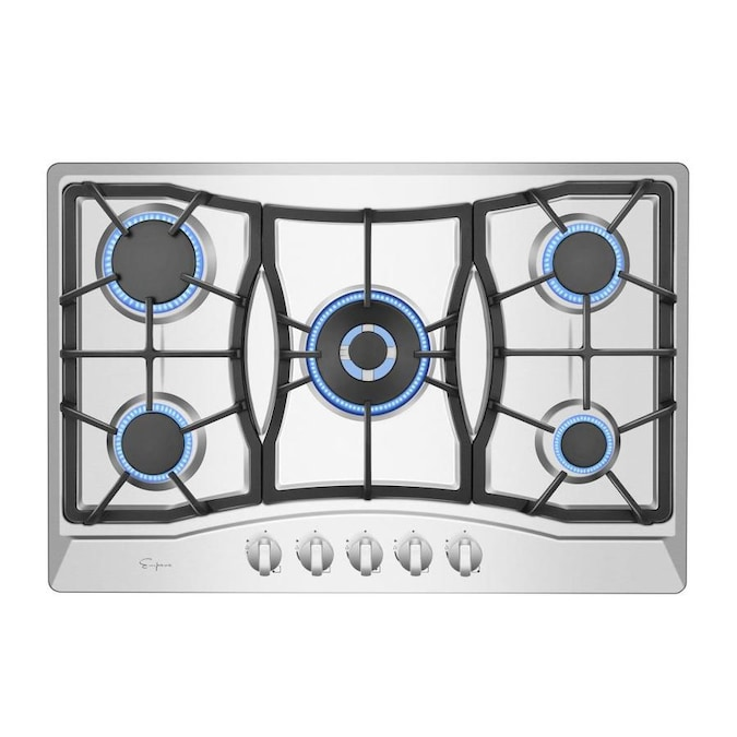 Pan 34 Inches Stainless Steel Built-in Gas Cooktop Kitchen Cooktop with Stainless Steel Surface and Cast Iron Grates 4 Burners Gas Stove Countertop Gas Hob 4 Burner Cooktops Gas Cooker for Griddle