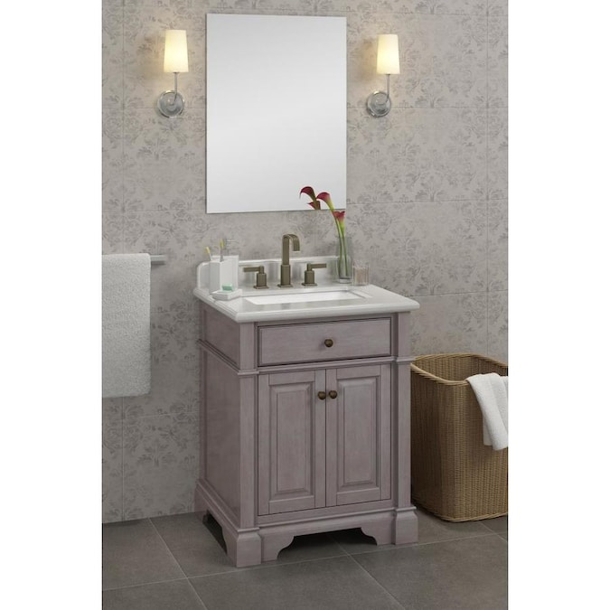 Casanova 28 In Antique Gray Undermount Double Sink Bathroom Vanity With Ariston Quartz Top In The Bathroom Vanities With Tops Department At Lowes Com