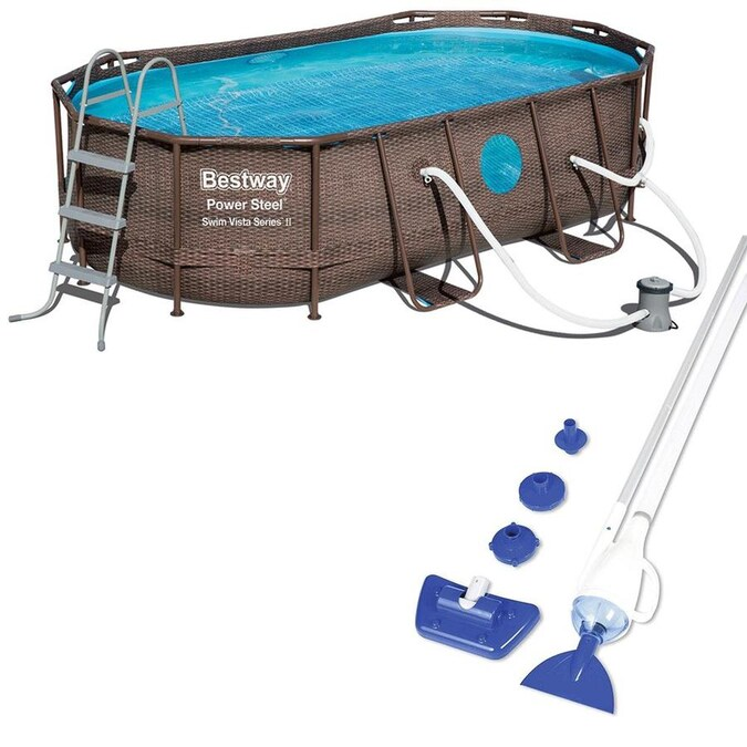 Ladder and Cover Bestway Power Steel Swim Vista Series 14 x 82 x 39.5 Oval Frame Above Ground Swimming Pool with Pump