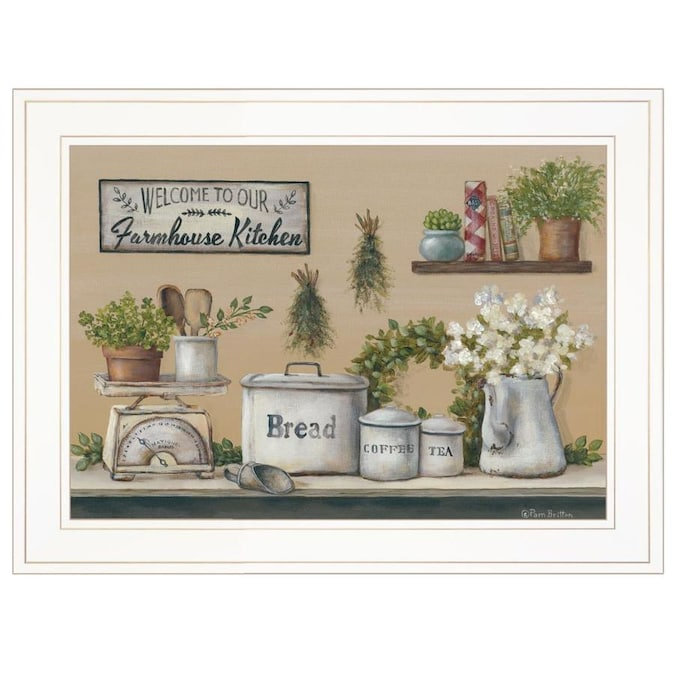 Trendy Decor 4u Ready To Hang Framed Print White Frame 19 In X 15 Garden Farmhouse Kitchen By Pam Britton The Wall Art Department At Lowes Com