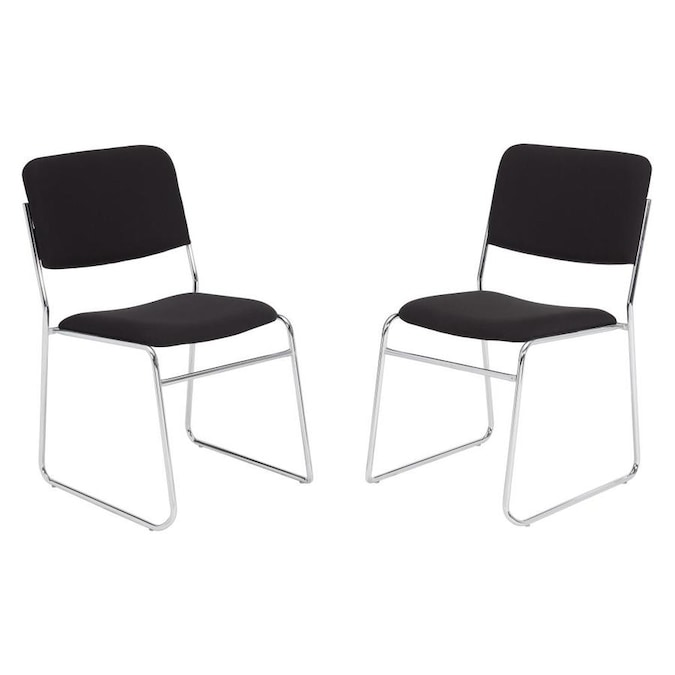 BLACK METAL AND FABRIC WAITING ROOM STACKABLE CHAIRS OFFICE 8 AVAILABLE