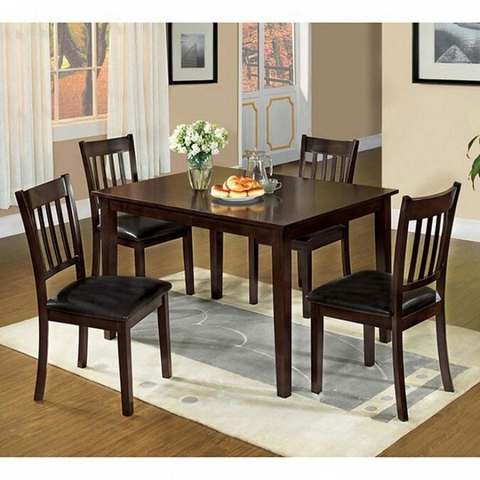 Benzara Espresso Dining Room Set With Rectangular Table In The Dining Room Sets Department At Lowes Com
