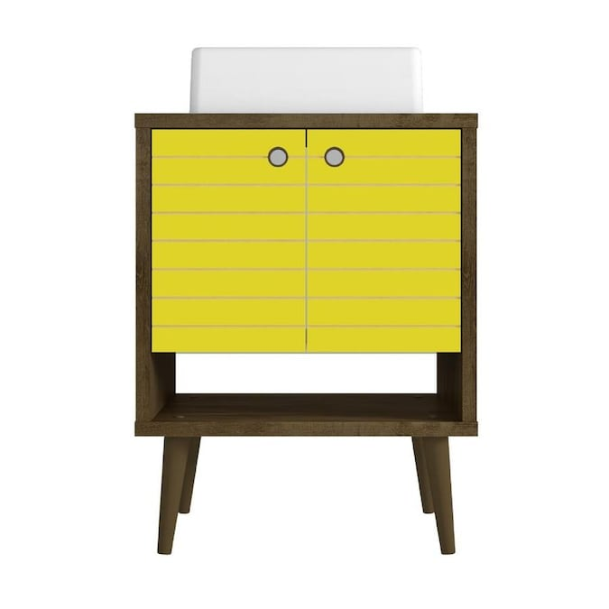 Manhattan Comfort Liberty 24 In Rustic Brown And Yellow Single Sink Bathroom Vanity With White Wood Top In The Bathroom Vanities With Tops Department At Lowes Com