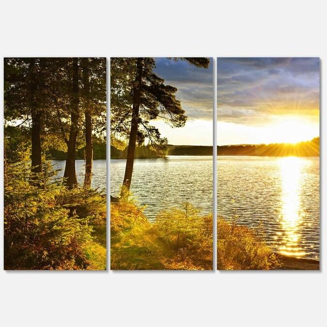 Modern Picture Print on Canvas footbridge Landscape Lake 30 shapes it 3056
