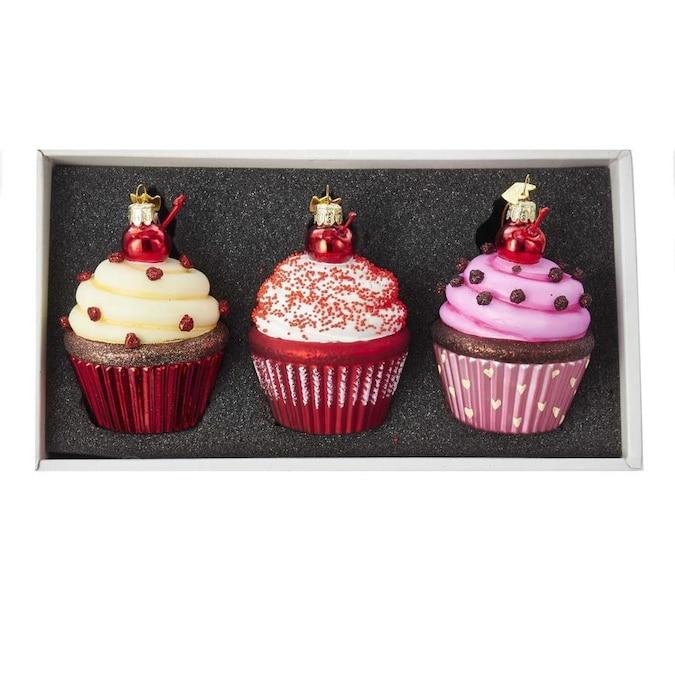 Set of 3 Miniature Glass Cake Ornaments w