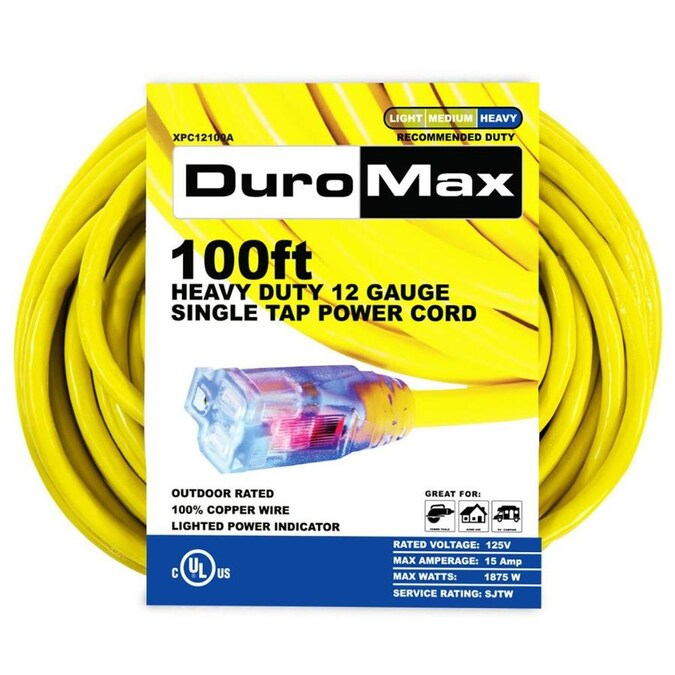 DuroMax 100-ft 12/1 3-Prong Outdoor Heavy Duty Lighted Extension Cord in  the Extension Cords department at Lowes.com