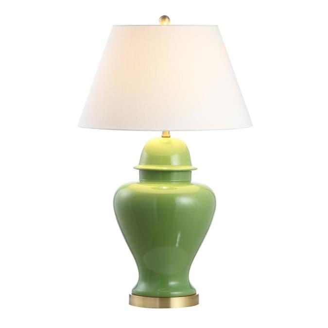 Vintage Green Glaze Boho Ceramic Lamp