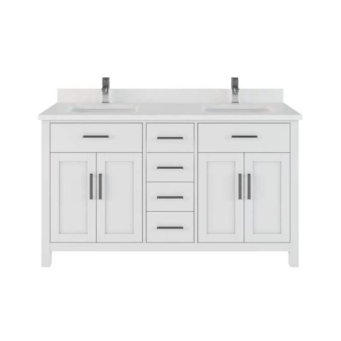 Spa Bathe Kate 60 In White Undermount Double Sink Bathroom Vanity With White With Gray Veins Engineered Stone Top In The Bathroom Vanities With Tops Department At Lowes Com