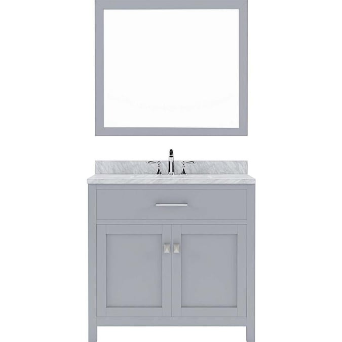 Virtu Usa Caroline 36 In Gray Undermount Single Sink Bathroom Vanity With Italian Carrara White Marble Top Mirror Included In The Bathroom Vanities With Tops Department At Lowes Com