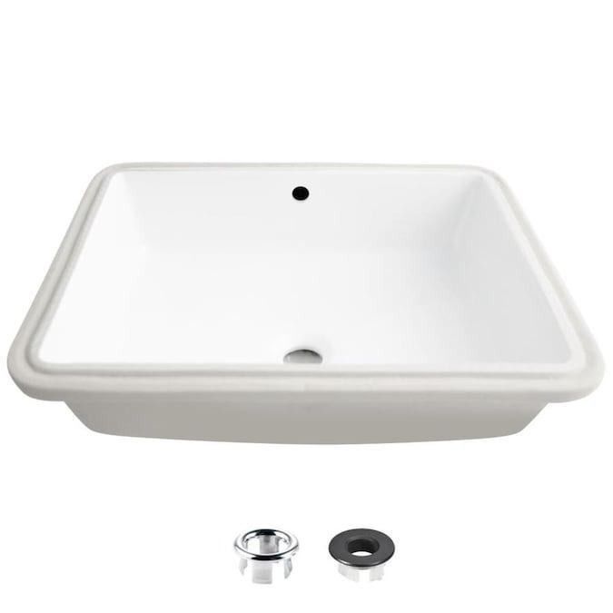 P-208 Stylish 24 Porcelain Rectangular Undermount Bathroom Sink with Overflow