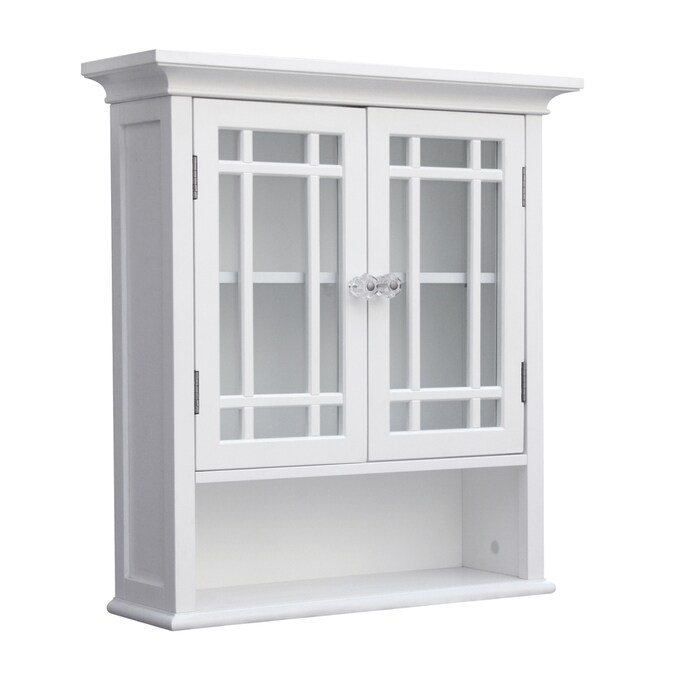 Elegant Home Fashions Neal 22 In W X 24 In H X 7 In D White Bathroom Wall Cabinet In The Bathroom Wall Cabinets Department At Lowes Com