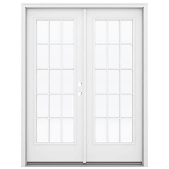 Jeld Wen 60 In X 80 In External Grilles Primed Fiberglass Left Hand Outswing Double Door French Patio Door In The Patio Doors Department At Lowes Com My local home improvement stores like home depot and lowes only have prehung inswing exterior doors, and i could special order an outswing prehung door but they're like $310+ whereas the equivalent inswing doors are around $170. lowe s