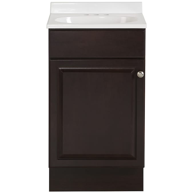 Project Source 18 In Java Single Sink Bathroom Vanity With White Cultured Marble Top In The Bathroom Vanities With Tops Department At Lowes Com