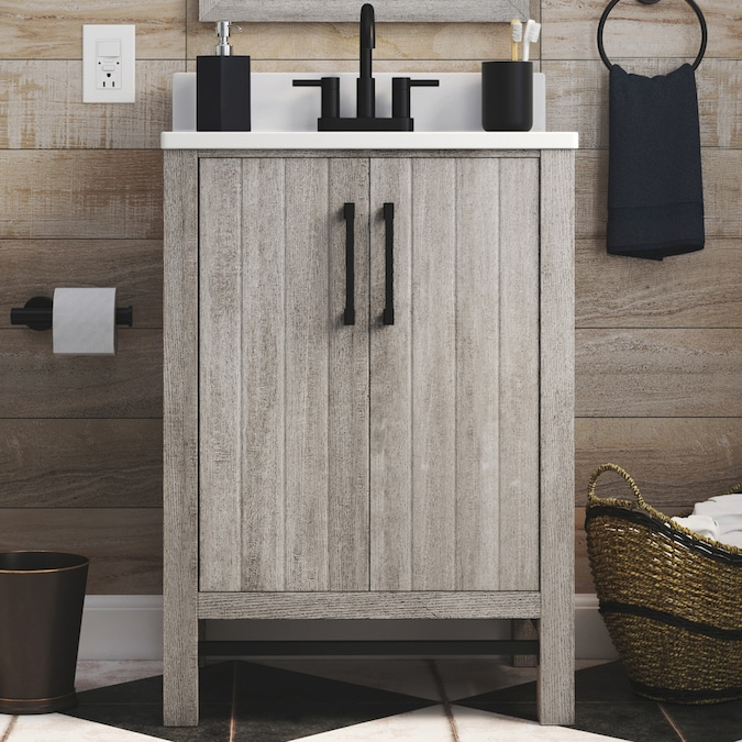 Style Selections 25 In Barnwood Single Sink Bathroom Vanity With White Acrylic Top Mirror Included In The Bathroom Vanities With Tops Department At Lowes Com
