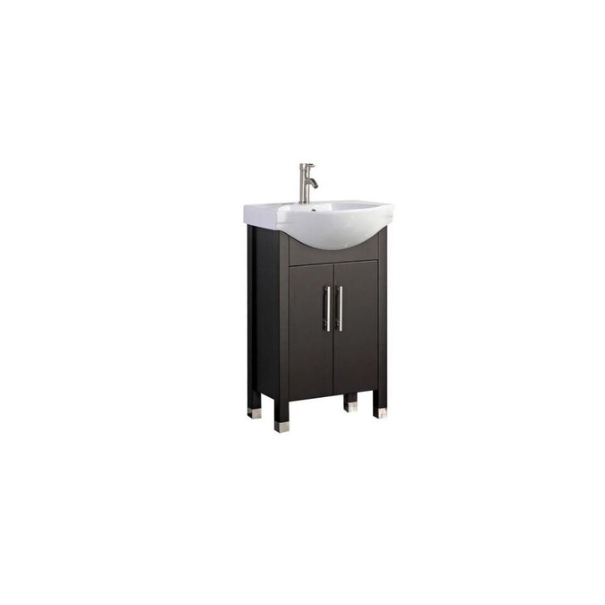 Mtd Vanities 20 In Espresso Single Sink Bathroom Vanity With White Ceramic Top Mirror And Faucet Included In The Bathroom Vanities With Tops Department At Lowes Com