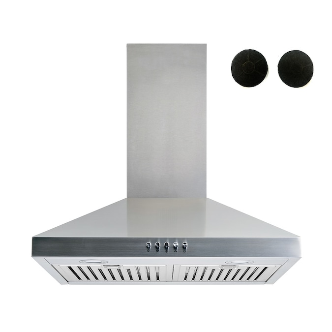 Wall Mount Range Hood Stainless Steel Convertible LED Light Exhaust Vent 30 in
