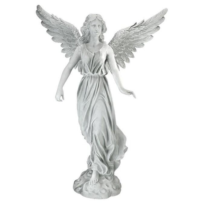 """18.7/"""" Angel Statue Birdfeeder Polystone White"""