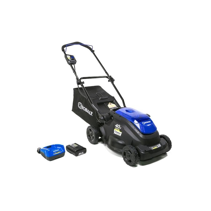 Kobalt 40 Volt Max Lithium Ion Push 16 In Cordless Electric Lawn Mower In The Cordless Electric Push Lawn Mowers Department At Lowes Com