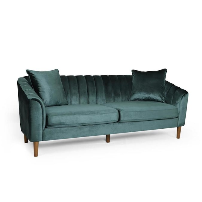 Best Selling Home Decor Ansonia Contemporary Velvet 3 Seater Sofa, Teal And Dark Brown In The Couches, Sofas & Loveseats Department At Lowes.com