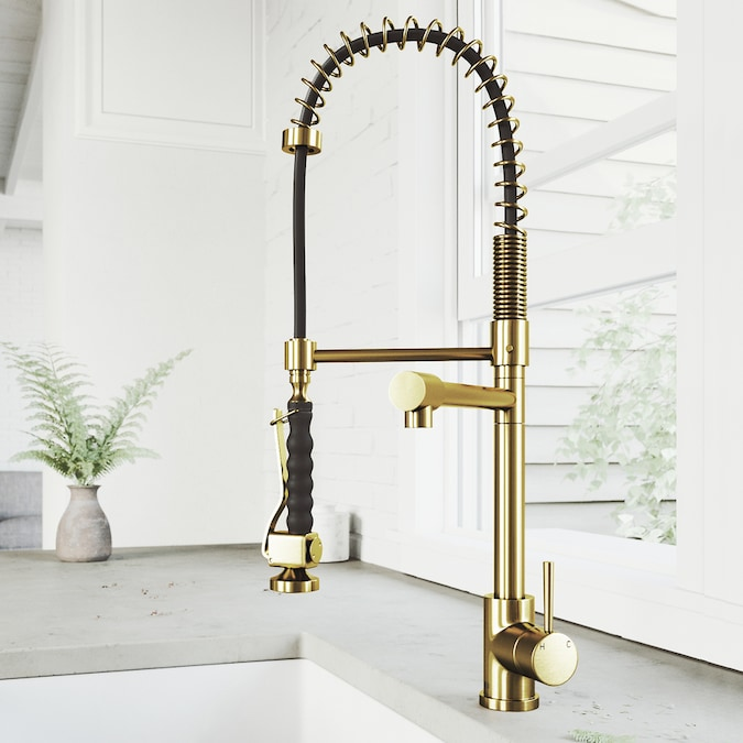 """Kitchen Sink Faucet 12/"""" Bathroom One Hole//Handle deck mounted gold PVD"""