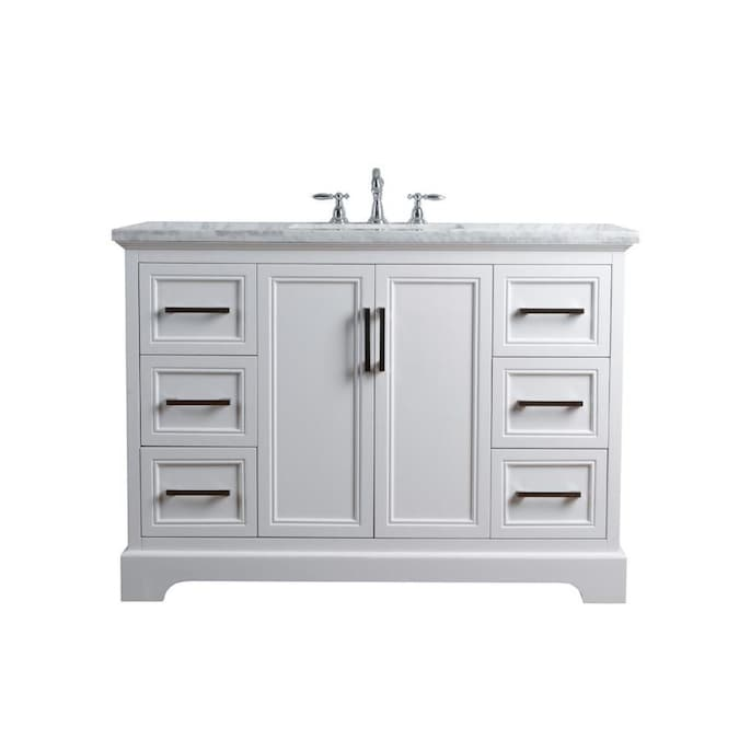 Stufurhome 48 In White Undermount Single Sink Bathroom Vanity With Carrara White Natural Marble Top In The Bathroom Vanities With Tops Department At Lowes Com