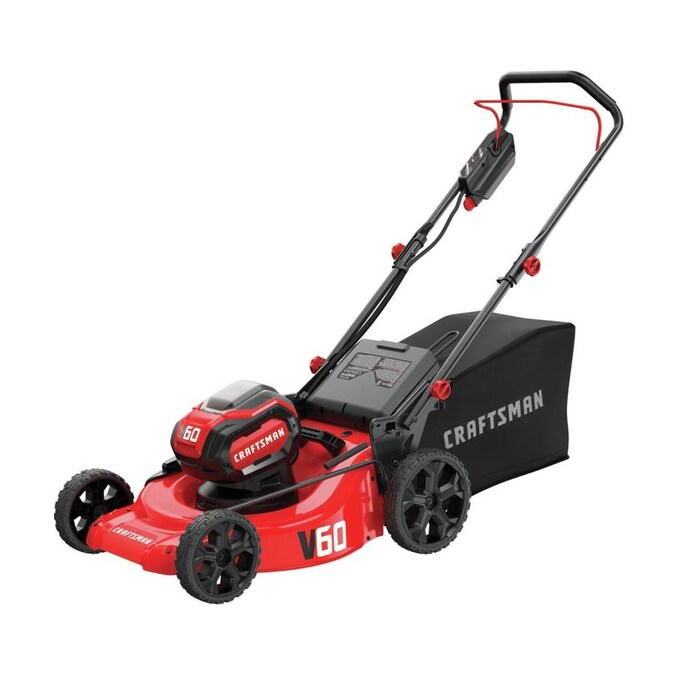 craftsman v60 60volt max lithium ion push 21in cordless electric lawn  mower