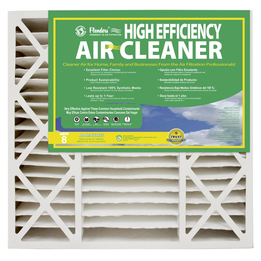 Flanders 2-Pack 25-in x 20-in x 4.5-in Pleated Ready-to-Use Industrial HVAC Filter