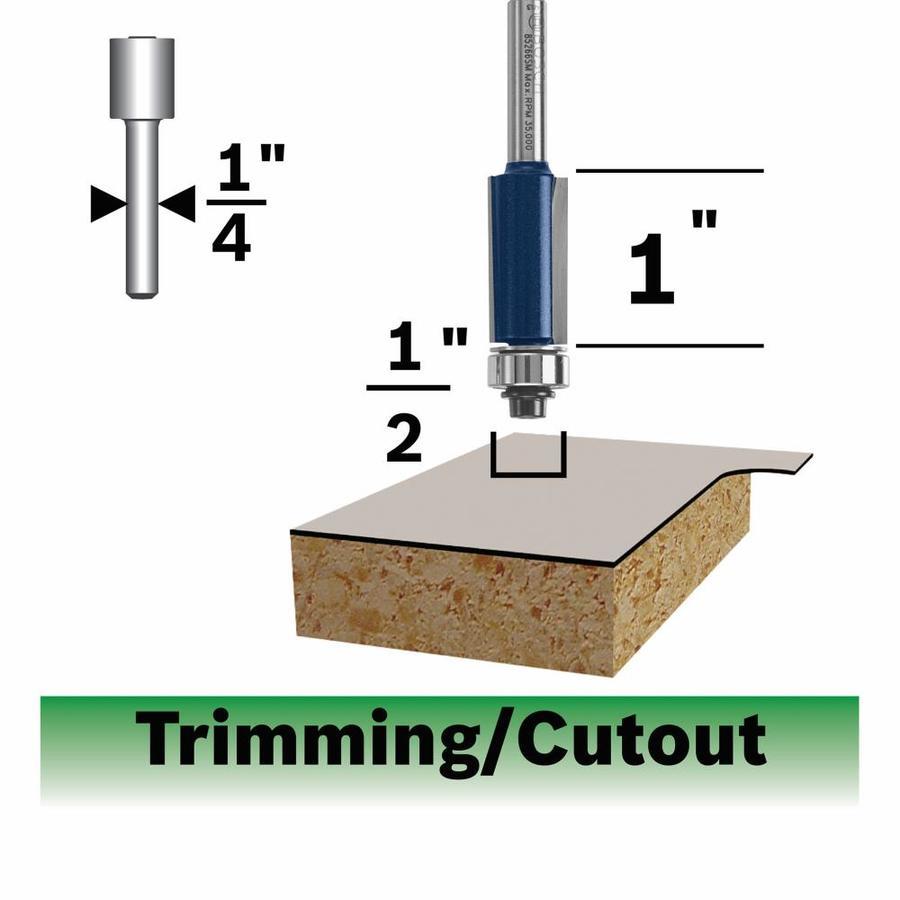 Bosch Laminate Flush Trimming Bit,  2 Flute 1/2-in x 1-in Ball Bearing Pilot, 1/4-in Shank