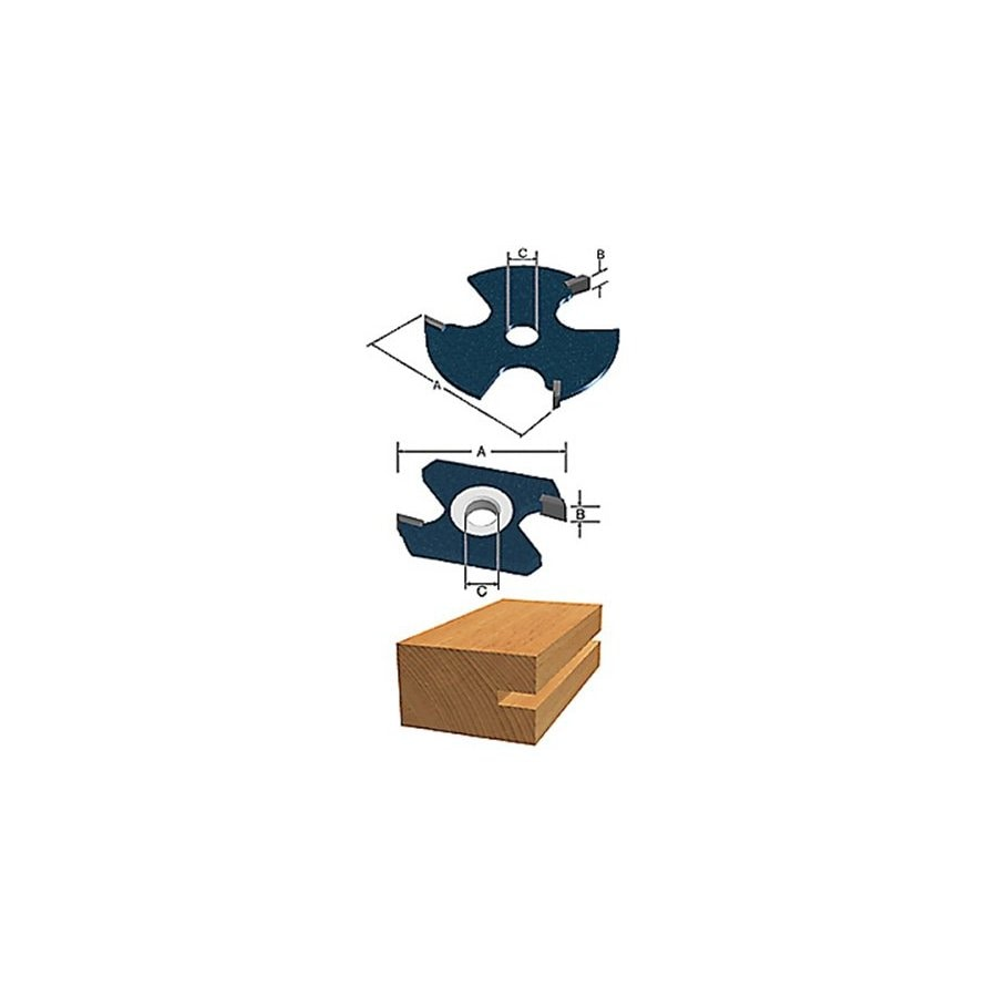 Bosch 3-Wing Slotting Cutter Bit, 1/8-in wide, 1/2-in Maximum Cut Depth, 5/16-in Bore