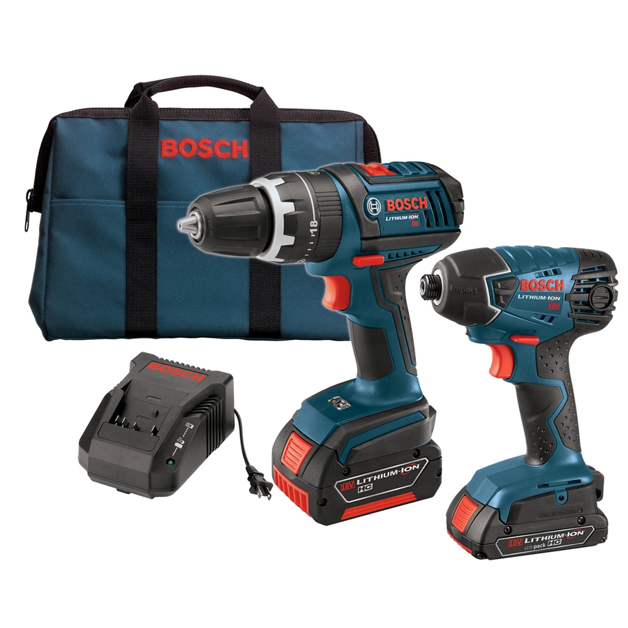 Bosch 18-Volt Lithium Ion Compact Hammer Drill/Driver and Impact Driver Kit