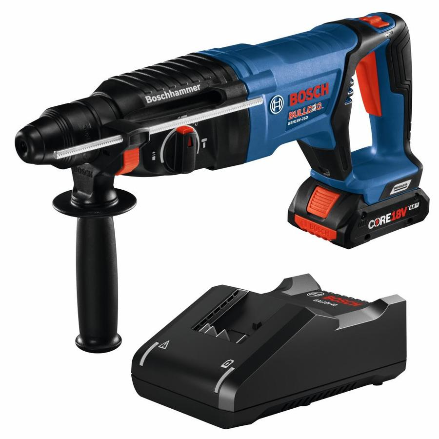 Bosch Bulldog 1 Battery Core18v 1 In Sds Plus Variable Speed Cordless Rotary Hammer Drill In The Rotary Hammer Drills Department At Lowes Com