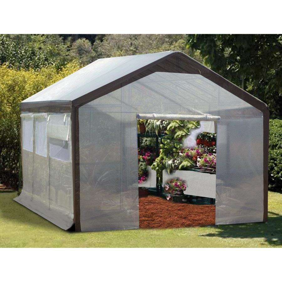 SPRING GARDENER 20-ft L x 10-ft W x 9-ft H Metal Poly Sheeting Greenhouse