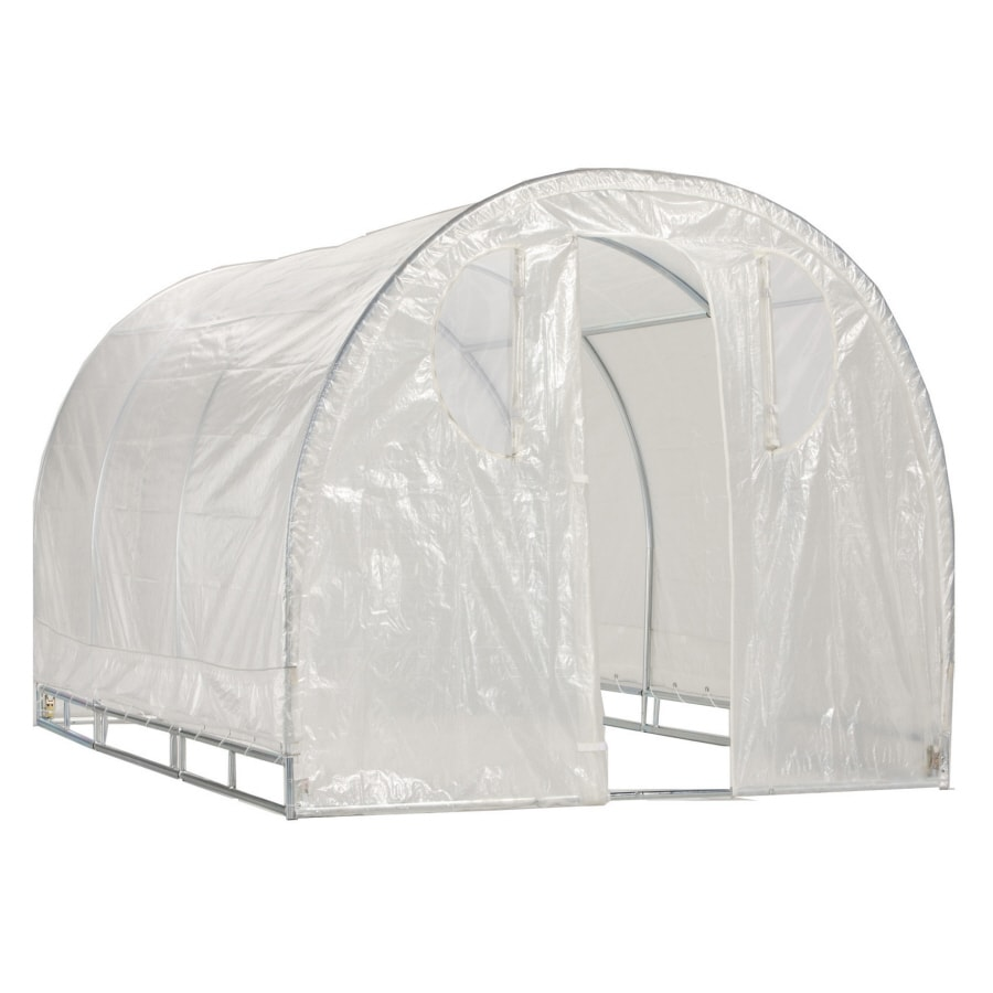 8-ft L x 6-ft W x 6.5-ft H Metal Poly Sheeting Greenhouse