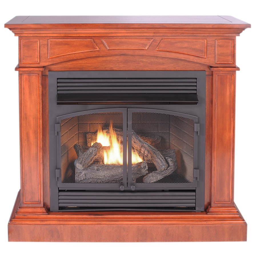 ProCom 44.52-in Dual-Burner Vent-Free Heritage Cherry Corner or Wall-Mount Liquid Propane and Natural Gas Fireplace