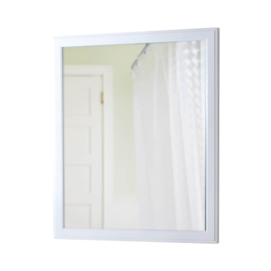 Style Selections 31-3/8-in H x 25-3/4-in W Almeta White Rectangular Bathroom Mirror