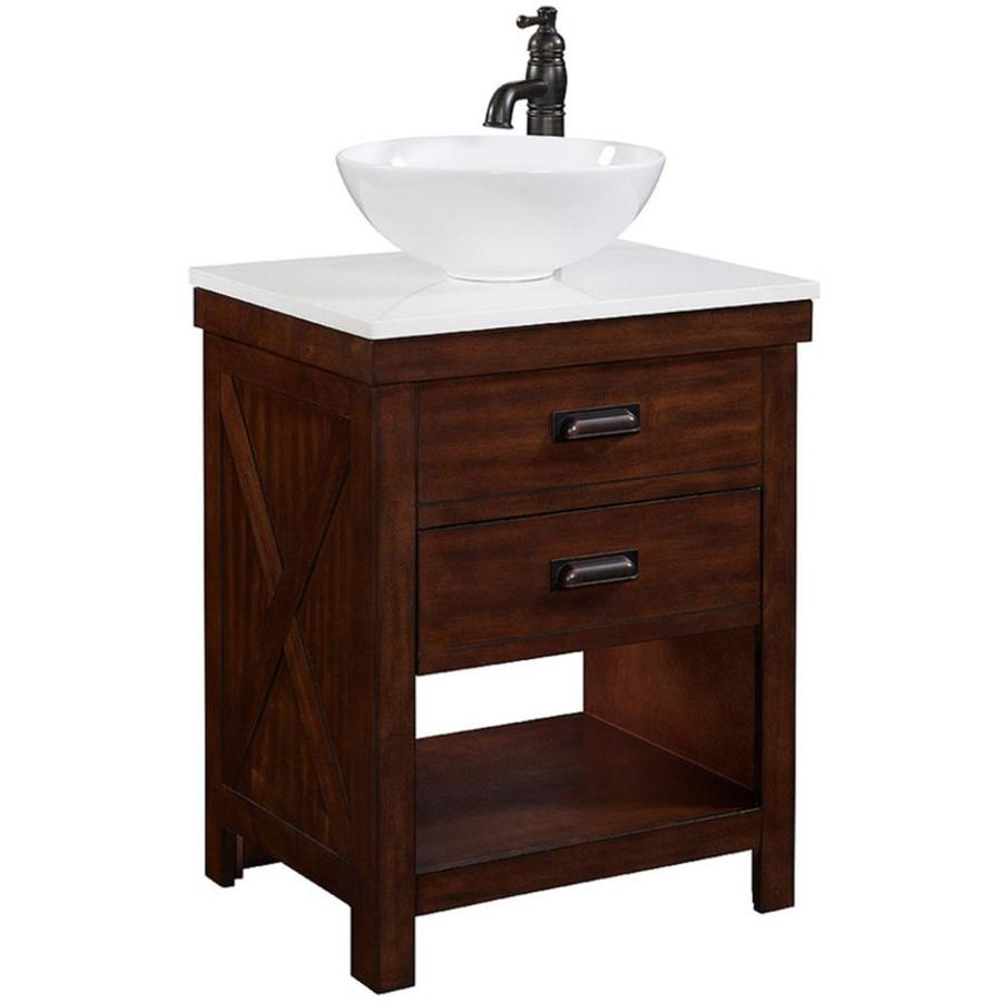 Style Selections Cromlee Bark Vessel Single Sink Poplar Bathroom Vanity With Engineered Stone Top Faucet Included Common 24 In X 19 In Actual 24 In X 19 In In The Bathroom Vanities With Tops Department At